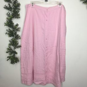 Christopher & Banks Pink Linen Blend Midi Skirt